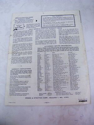 Vintage Briggs & Stratton Operating and Maintenance Instructions 5