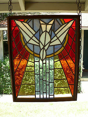 Vintage Church Stained Glass Window Salvage Bird Leaded HOLY SPIRIT DOVE Peace 3