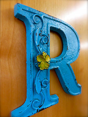 """BLUE CAST IRON WALL LETTER """"R"""" 6.5"""" TALL rustic vintage decor sign child nursery 2"""