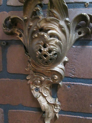 "Vintage Antique French Wall Sconces Bronze Floral 2 Lights 19 1/2"" Tall Stunning 10"