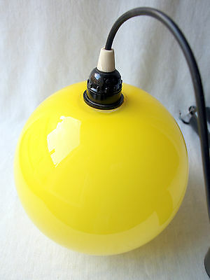 Vintage French Mid Century 1950s Glass Globe Ceiling Light Acid Yellow Eames Era 5