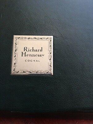Richard Hennessy Cognac Bottle Green Leather Case, Cognac Bottle Used. 2
