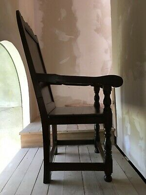 Rare Carved Early 18th Century Mahogany Wainscot Throne Joined Open Arm Chair 7