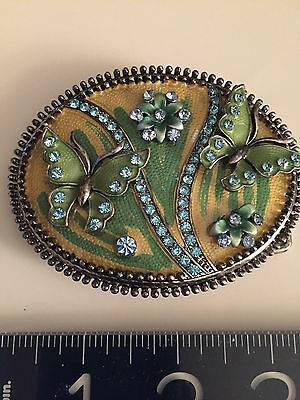 ANTIQUE style Austrian crystals+ ENAMEL BELT BUCKLE-with Butterflies/Flowers WOW 4
