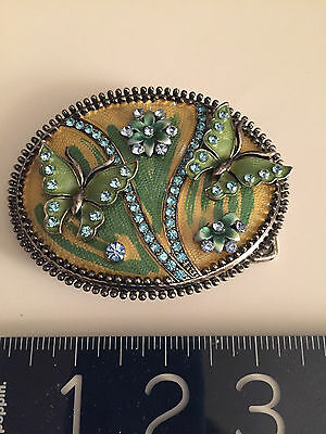 ANTIQUE style Austrian crystals+ ENAMEL BELT BUCKLE-with Butterflies/Flowers WOW 5