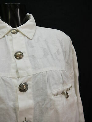 Gr.M Trachtenhemd Stockerpoint Leinen weiß mit Aufdruck Trachten Hemd TH1650 2