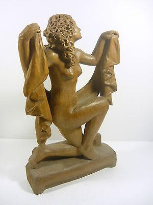 "Nude Girl Posing 12"", Vintage Artist Signed Carved Woodenware Figurine ! 8"