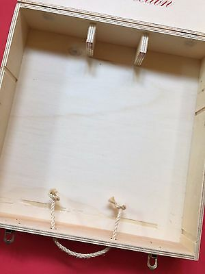 Vtg 4 Bottle Bolla Wood Wine Case Box Brass Latches Rope
