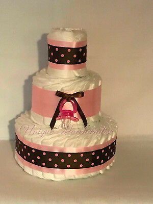 L@@K..Mod Girl 2 Tier  Diaper Cake Girl Baby Shower
