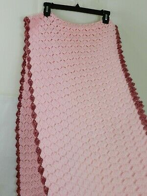 """Hand Knitted Acrylic Afghan Baby Throw Blanket Fringe Pink 16.5"""" x 87"""" 9"""