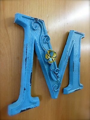 "BLUE CAST IRON WALL LETTER ""M"" 6.5"" TALL rustic vintage decor sign child nursery 3"