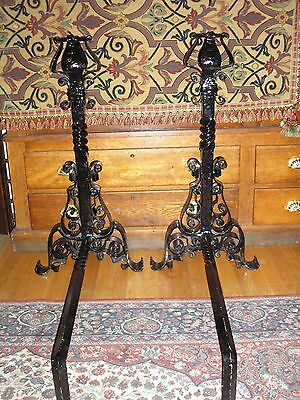 Monumental Pair of Antique Arts And Crafts Wrought Iron Andirons 2