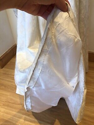 Pretty Vintage 1950s Bridal Wedding Dress with Bustle Off White Damask 8 10 11