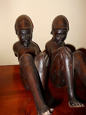 STUNNING & RARE PAIR OF MID 18th c. OAK MALE CARVED WOODEN  FIGURES c1750 4