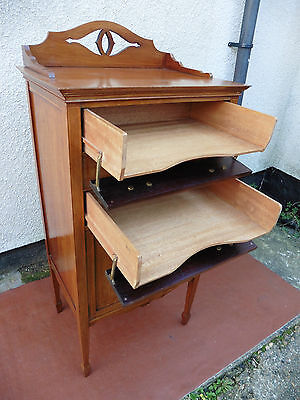 Antique Edwardian Inlaid Mahogany Drop Front Filing Cabinet, Chest, 3 Trays, 3