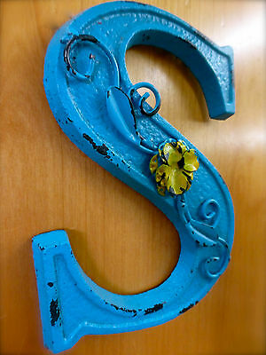 "BLUE CAST IRON WALL LETTER ""S"" 6.5"" TALL rustic vintage decor sign child nursery 2"