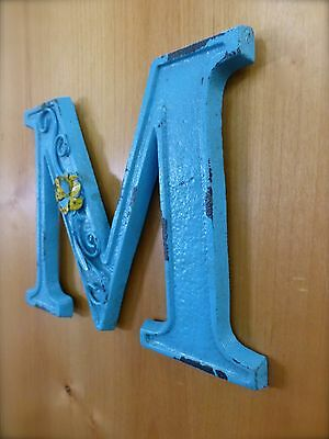 "BLUE CAST IRON WALL LETTER ""M"" 6.5"" TALL rustic vintage decor sign child nursery 2"