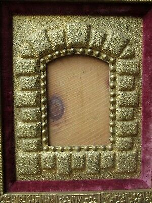 Antique AESTHETIC Movement ERA Floral GOLD Frame for Small MINIATURE Photo c1880 4