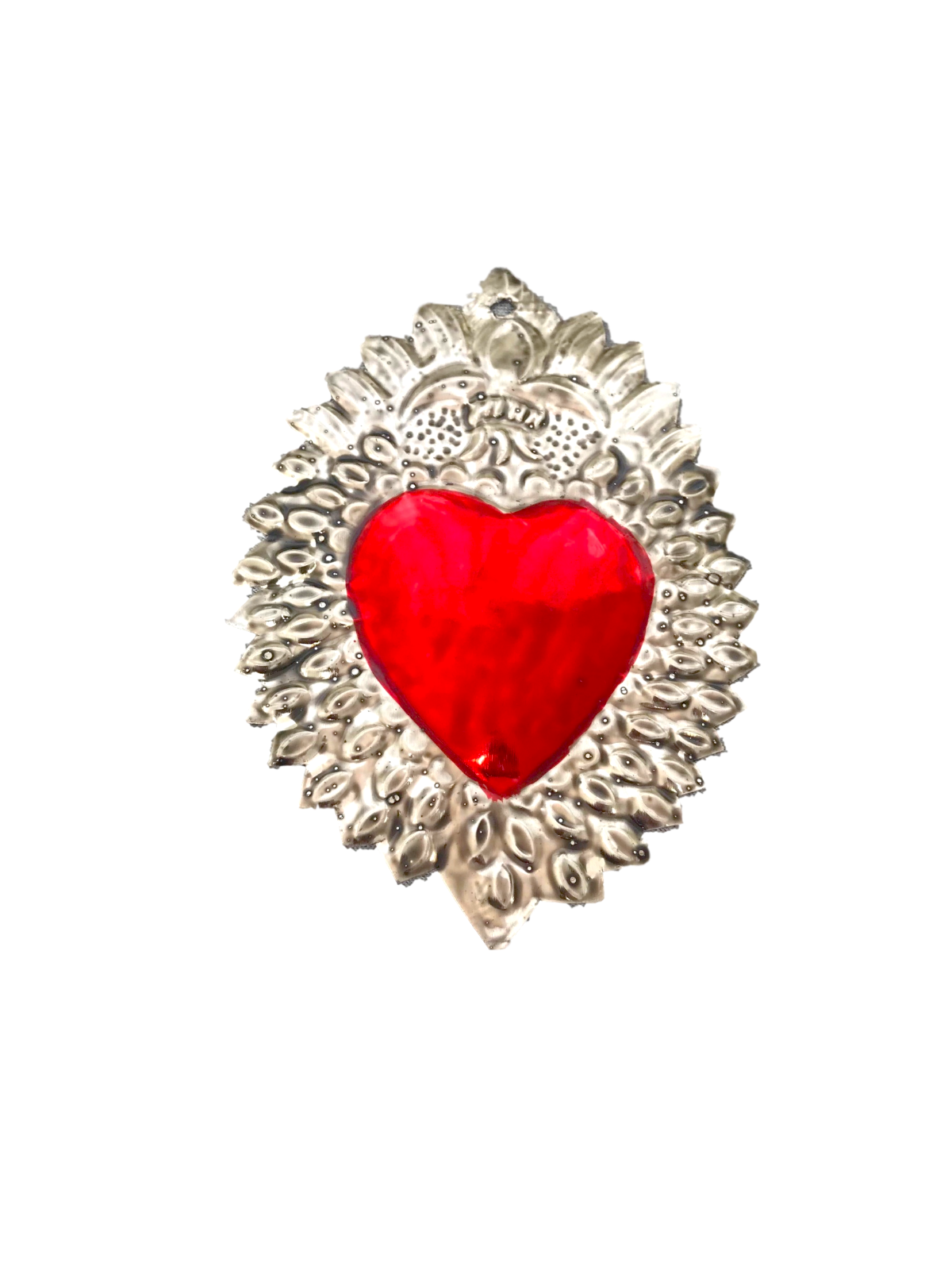 Milagros Charms - Tin Painted Sacred Heart Ornaments - Mexican Art (Set of 4) - 2
