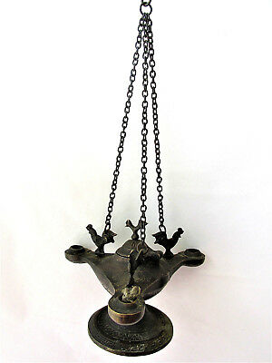 Antique Bronze  Byzantine Medieval  OIL LAMP with four birds 2