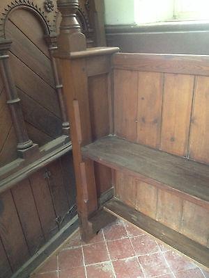 Victorian Church Neo Gothic Pew chapel settle bench Elders Seat TallSlimBookcase 10
