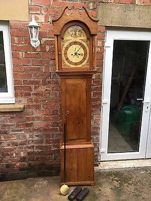pine grandfather clock reduced£495 3
