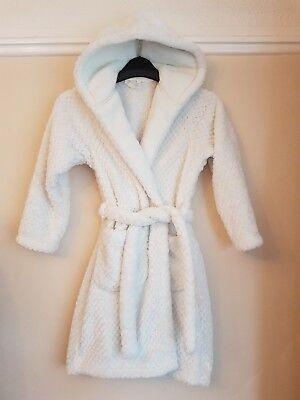 Marks & Spencer Girl's White Super Soft Dressing Gown Robe Age 7-8 Yrs 4