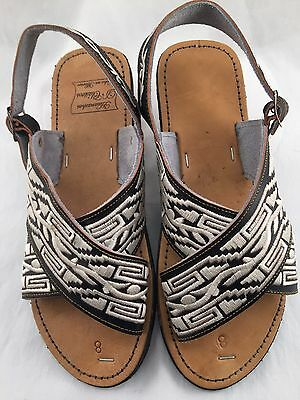 ce1f13bfd280 MENS LEATHER MEXICAN two strap PITEADO GRABADO SANDALS HUARACHE  ALL SIZES  4 new!