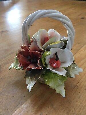 Vintage Porcelain Flower Bouquet Basket -F10 Italy
