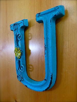 "BLUE CAST IRON WALL LETTER ""U"" 6.5"" TALL rustic vintage decor sign child nursery 3"