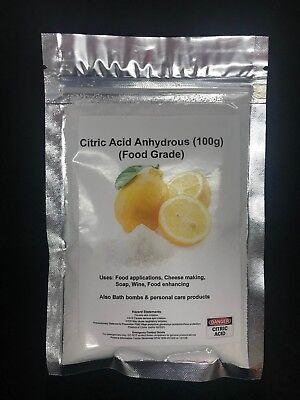 Citric Acid Food Grade Anhydrous 100g, 400g, 1Kg, Bath Bomb, Cheese Making, Soap 2