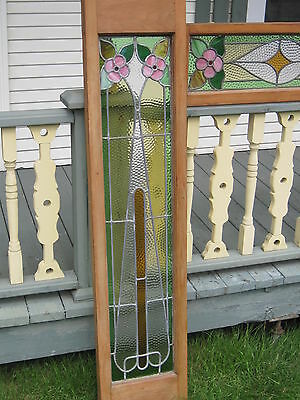 Set Of 3  Antique Victorian Stained Glass Window Transom Ans Side Door Architect 6
