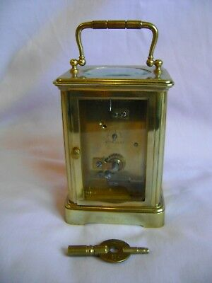 Antique Margaine Timepiece Small Carriage Clock + Key In Good Working Order 6