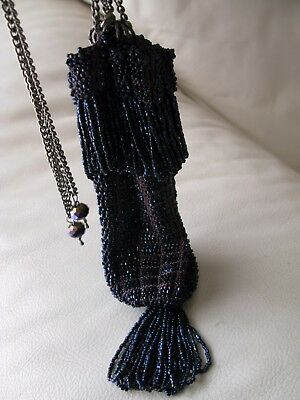 Antique Art Deco Crochet Iridescent Peacock Blue Bead Chain Drawstring Purse Vintage