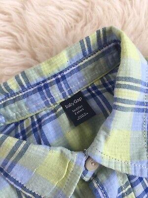 Toddler Boy Baby Gap Plaid Check Print Blue Green Button Down Shirt New 2Y 4