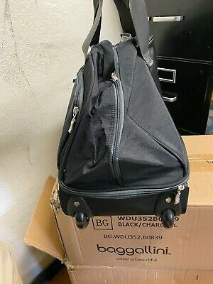 """Brand NEW Baggallini Rolling  Carry-On Duffle Bag Wheeled Luggage Black 21"""" 5"""