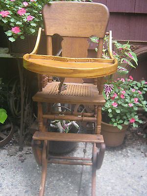 Primitive Antique Wicker Baby High Chair Rocker Stroller Cast Iron Toy Wheels 3
