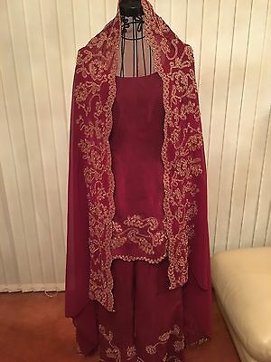 Ladies Beautiful 3 Piece Indian Red Gold Bollywood Shalwar Kameez Suit Size 10 2