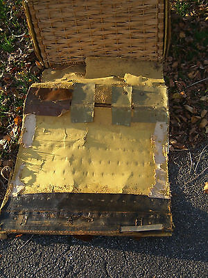 Vintage Oil Cloth/Wicker English Steamer Trunk w/White Star/Cunard Stk c.1930 5