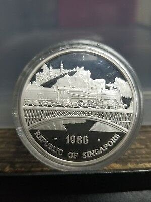 1986 Republic of Singapore 1 oz Proof Silver Dueling Dragons 2