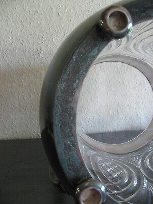 Original alte Bowle, Glas, Messing versilbert mit Bowlelöffel, 36 cm hoch 6