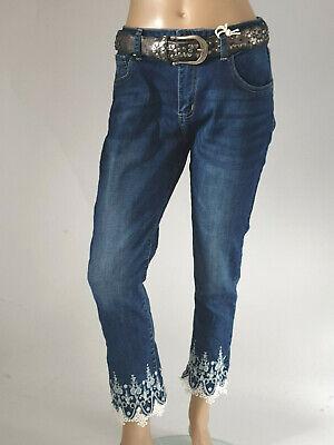 blau Gr.34-42 @--}-- Mozzaar Shorts mit Ethno Stickerei Jeans grau