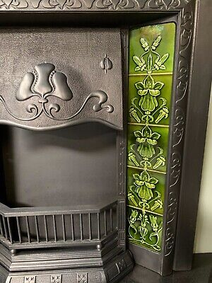 Original Antique Art Nouveau cast iron Fireplace Insert Nouveau Majolica Tiles 3