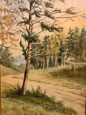 19th Century Framed Watercolor Pastoral Landscape Painting, Signed A.G.Gregory 2