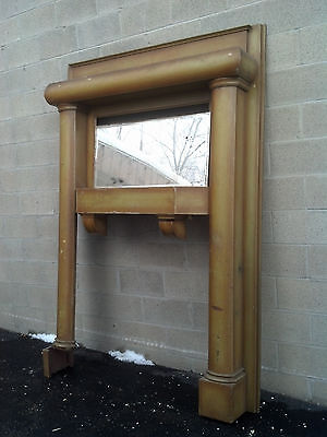 original rounder oak fire place w/ beveled mirror      (CMF 7)