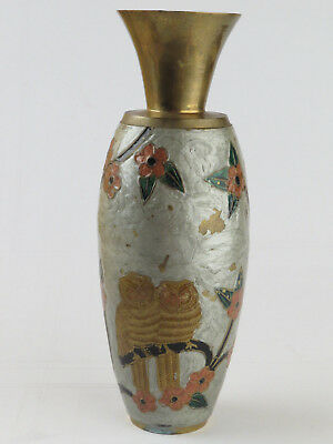 Antique Brass Cloisonne Champleve Enamel Owl Vase Trumpet Top Beautiful Birds R 11