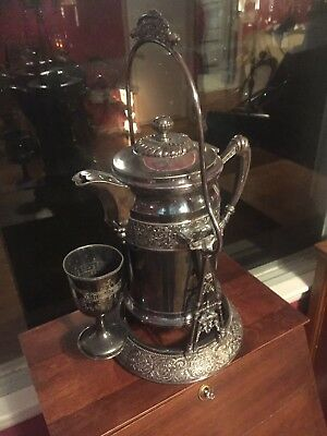 Antique Wilcox Silver Plate Water Pitcher, Cup And Stand 3