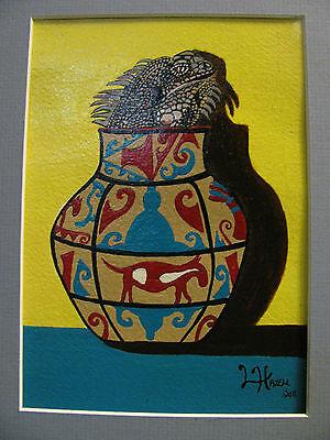 "C131         Original Acrylic Painting By Ljh         ""Scaredy Cat"" 10"