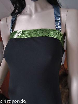 Abendkleid Gr. 36 Gr. 38  schwarz blau grün Pailletten erotisch CLASS Godet 2