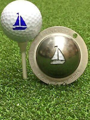 1 only TIN CUP GOLF BALL MARKER - SAIL AWAY - Yaght, Boat - Yours For Life